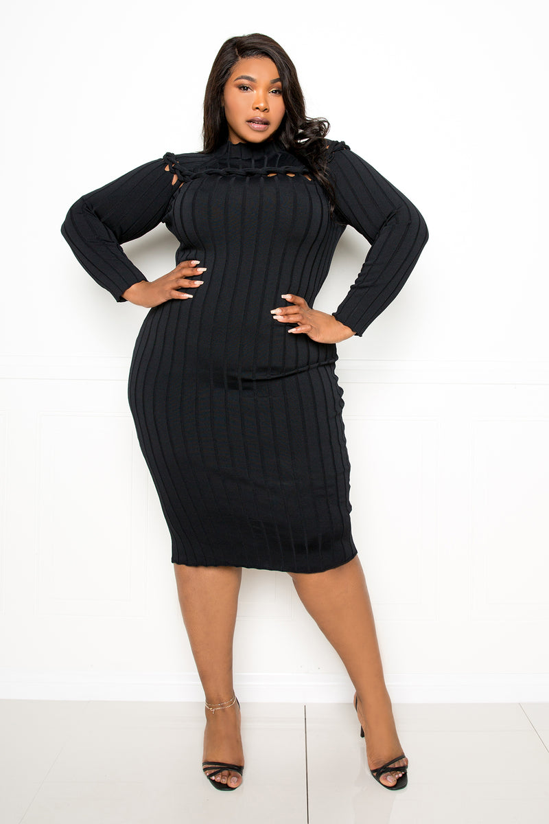 buxom couture curvy women plus size sweater dress with knot detail black