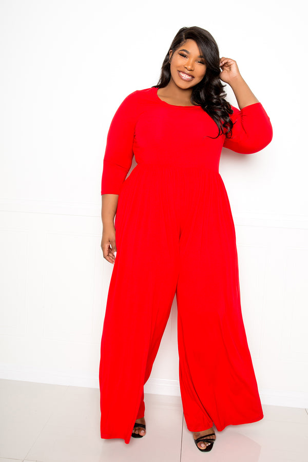 buxom couture curvy women plus size supersoft scooped neck jumpsuit red