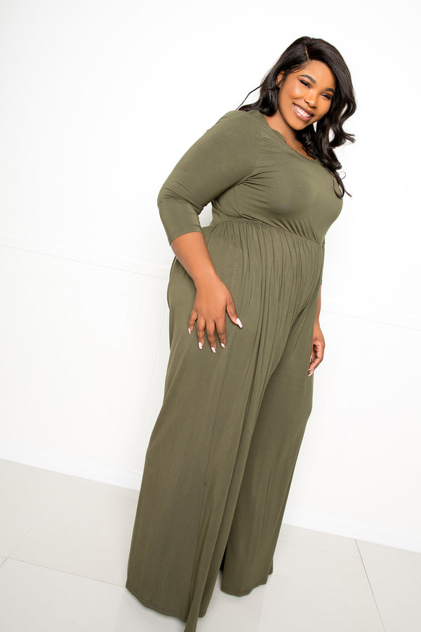 buxom couture curvy women plus size super soft scooped neck jumpsuit olive green