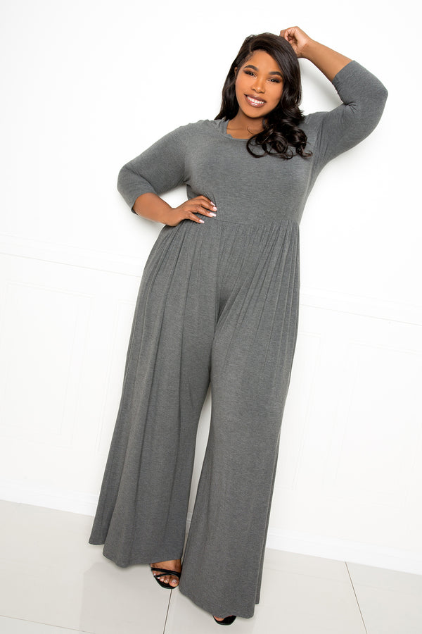 buxom couture curvy women plus size supersoft scooped neck jumpsuit charcoal grey