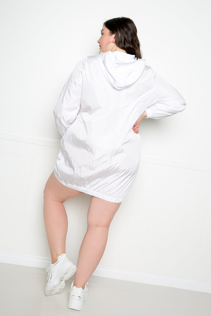 buxom couture curvy women plus size sporty zip-up dress white
