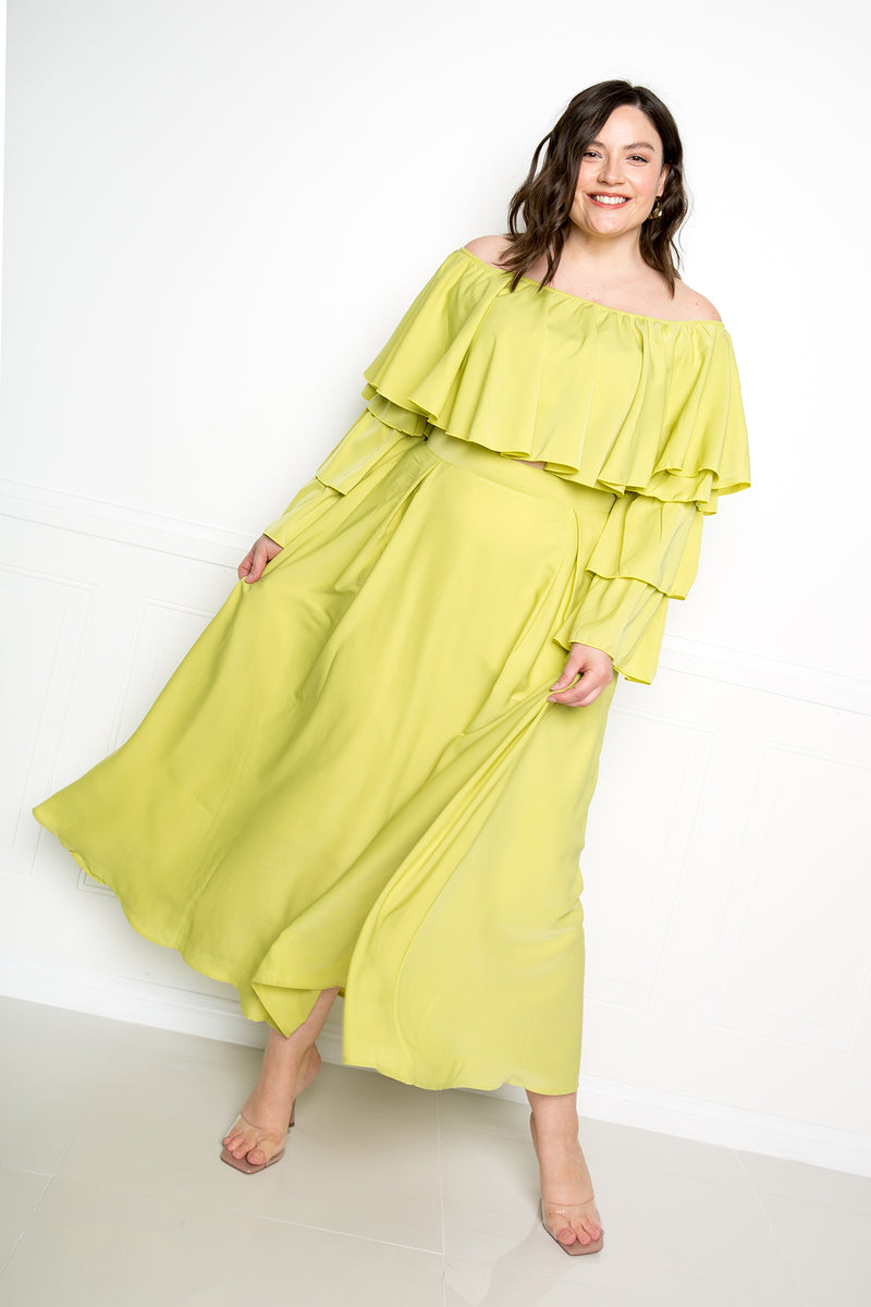 buxom couture curvy plus size women ruffle crop top maxi skirt set sage green