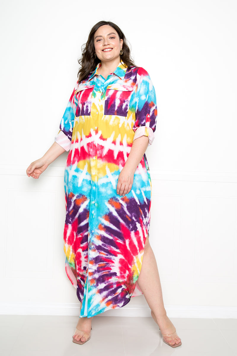 buxom couture curvy women plus size tie dye shirt dress pink