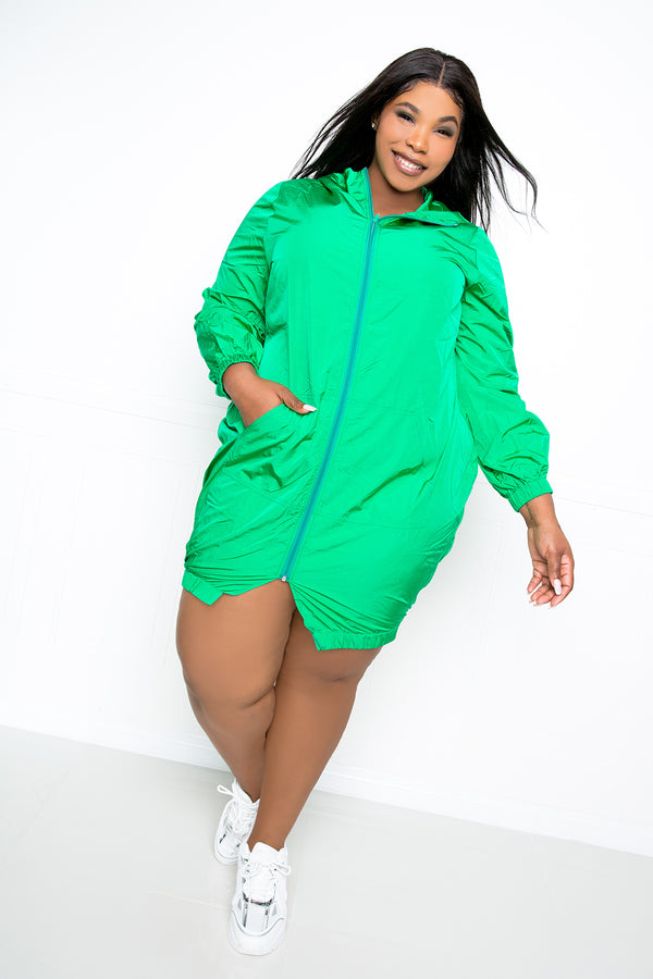 buxom couture curvy women plus size sporty zip-up dress jacket green