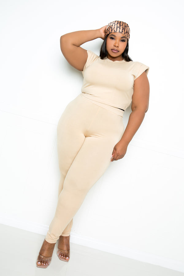 buxom couture curvy women plus size supersoft everyday lounge set cropped top high rise leggings nude tan beige taupe