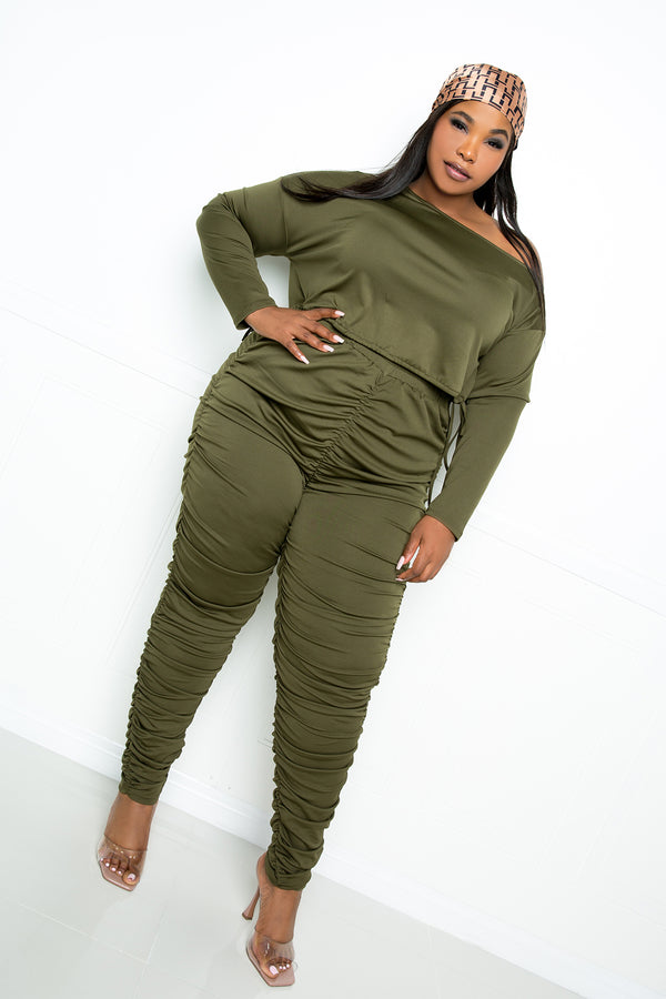 buxom couture curvy women plus size ruched lounge set olive green