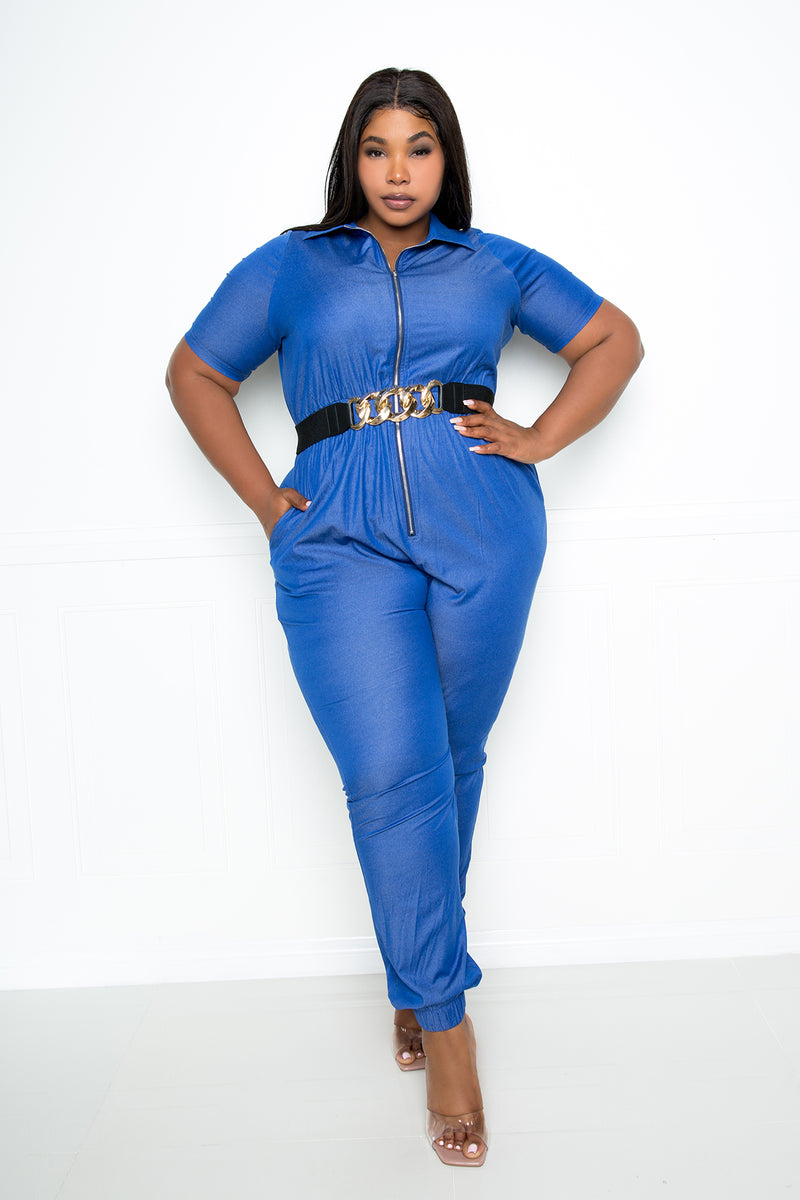 buxom couture curvy women plus size zip up denim jumpsuit