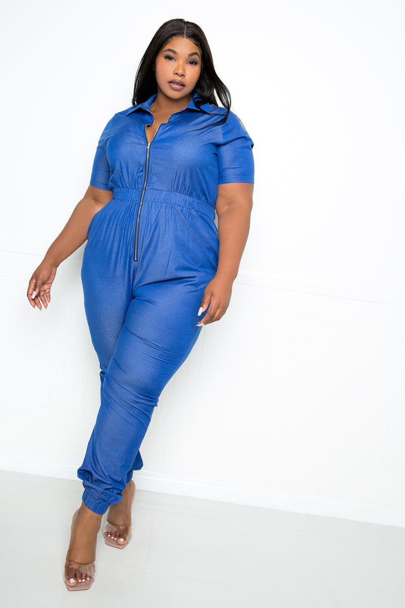 buxom couture curvy women plus size short sleeve denim jumpsuit