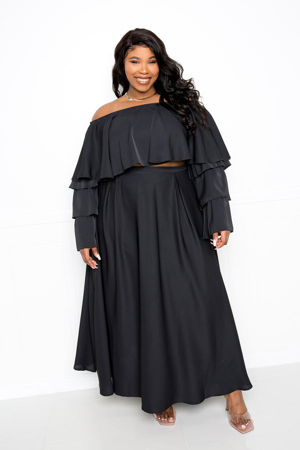 buxom couture curvy women plus size ruffle crop top and maxi skirt set black