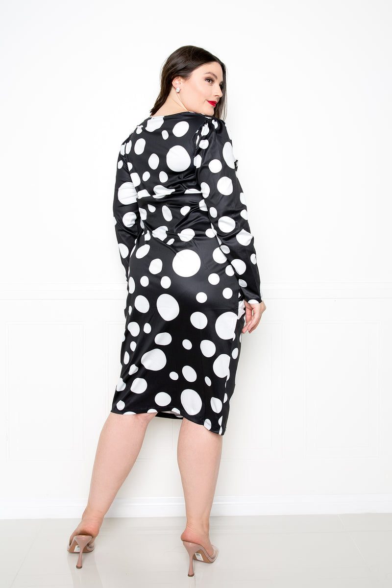 buxom couture curvy women plus size polka dot drop waist dress black and white