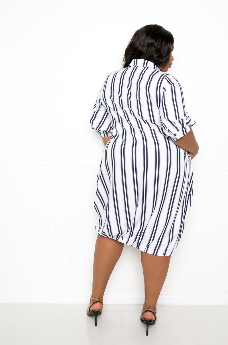 buxom couture curvy women plus size bubble hem stripe shirt dress black