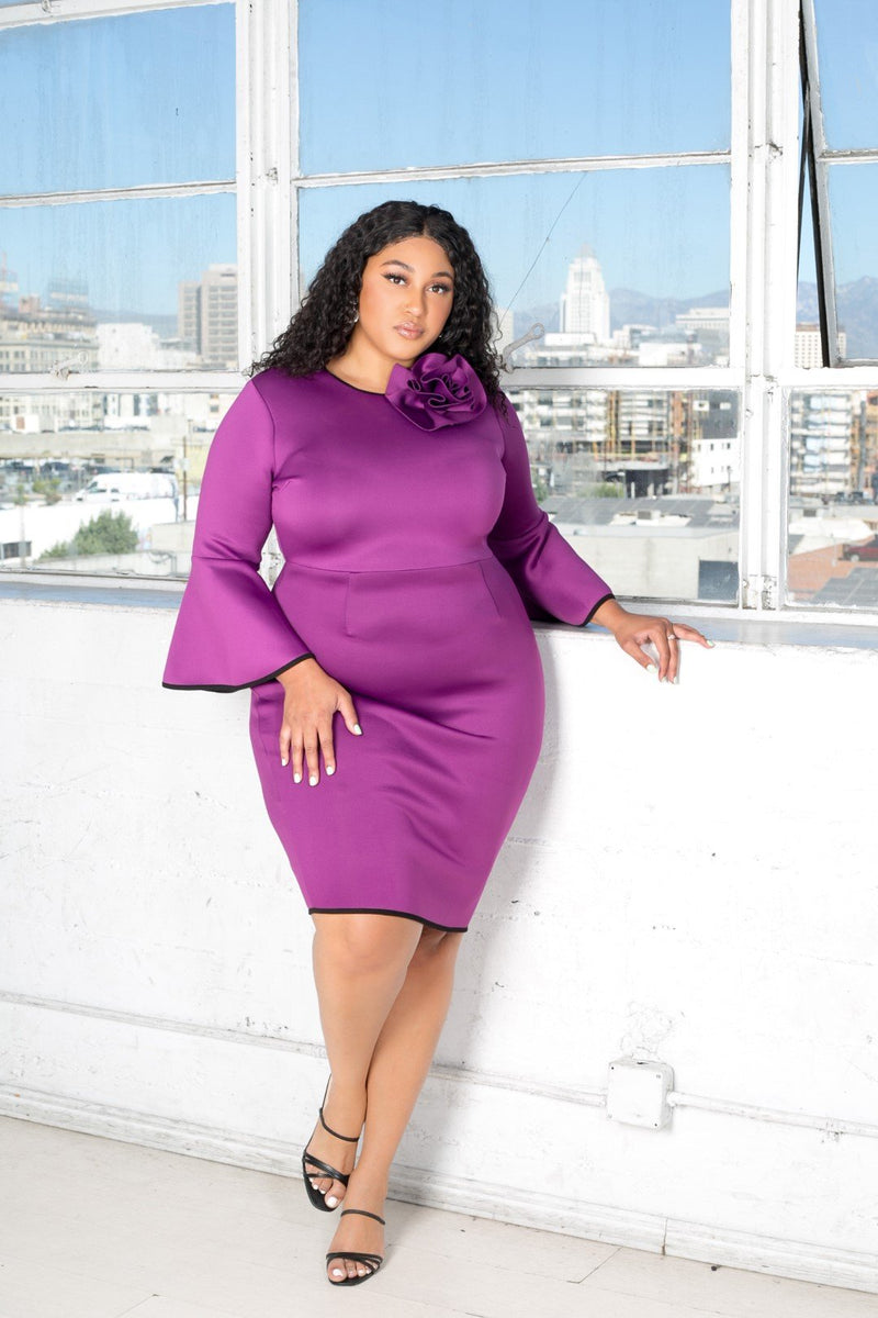 buxom curvy couture womens plus midi scuba dress with rose detail and bell sleeves in magenta purple