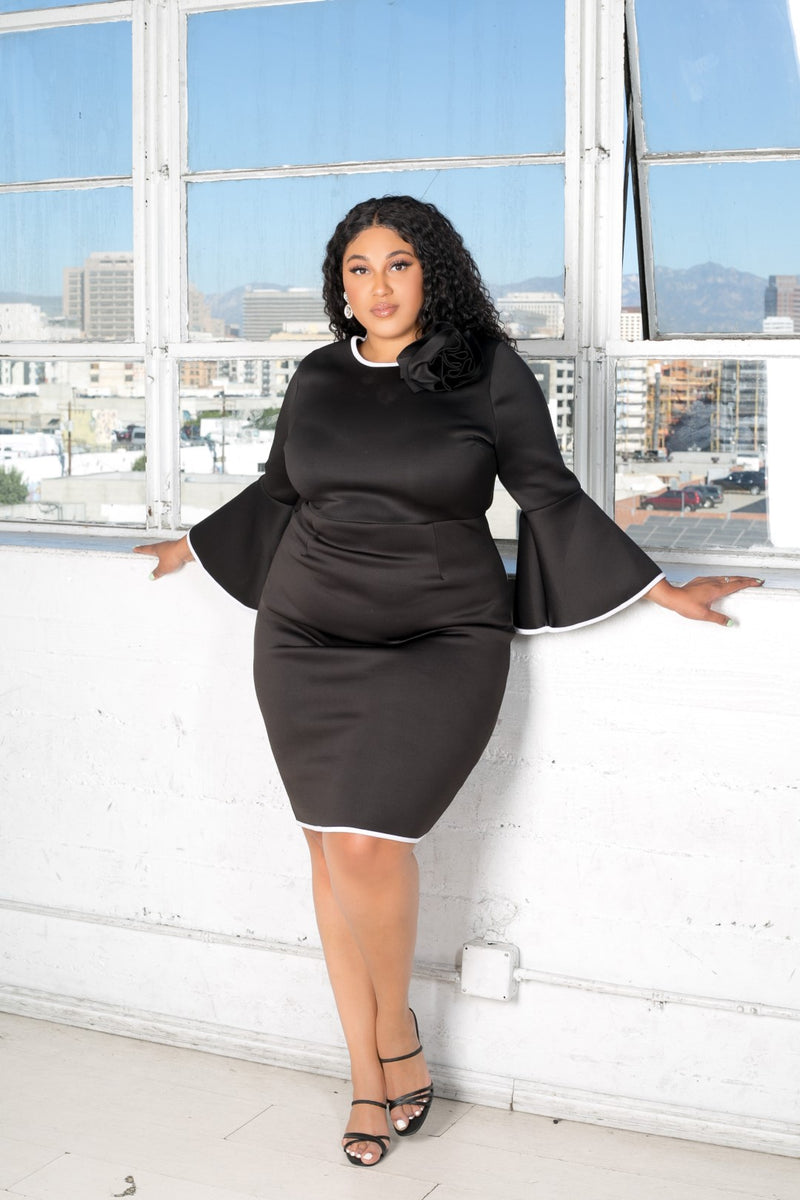 buxom curvy couture womens plus size scuba midi dress with bell sleeves and rose detail in black