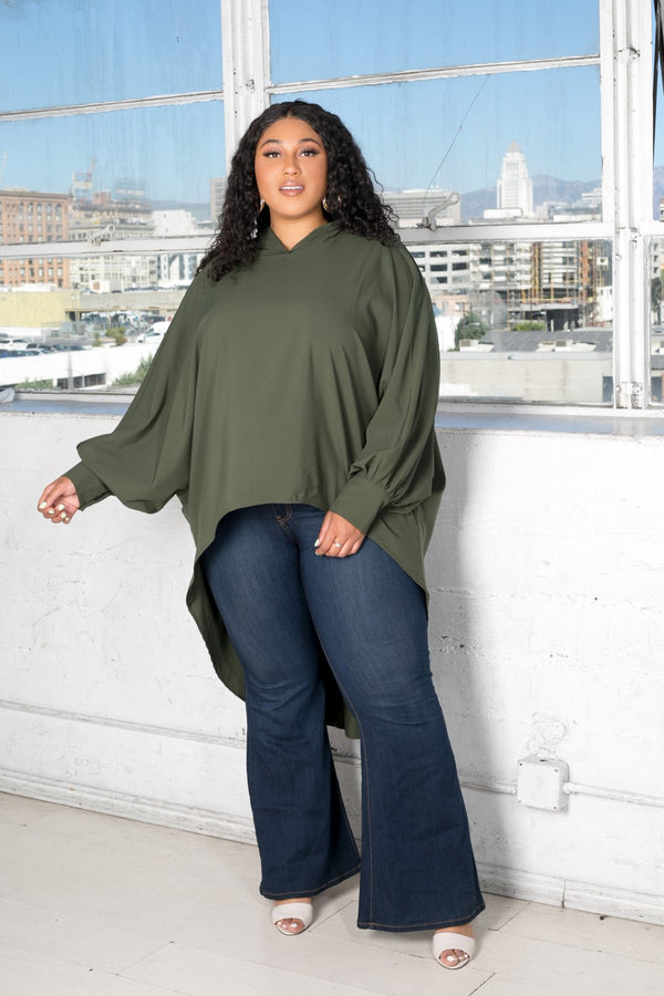 buxom curvy couture womens plus size oversized blouse with hood stretch woven in olive
