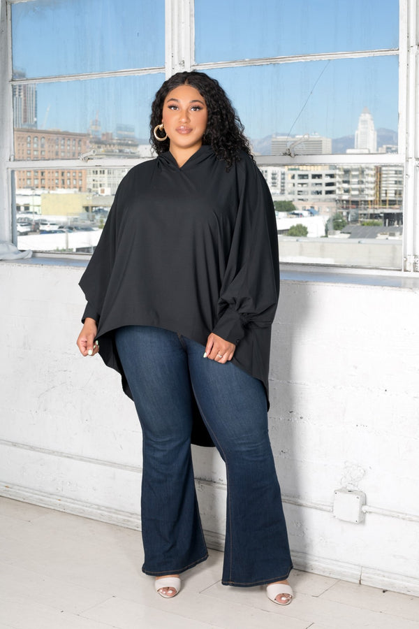 buxom curvy couture womens plus size oversized blouse with hood stretch woven in black
