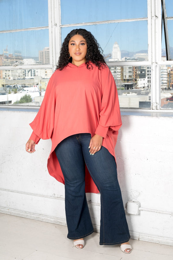 buxom curvy couture womens plus size oversized blouse with hood stretch woven in coral