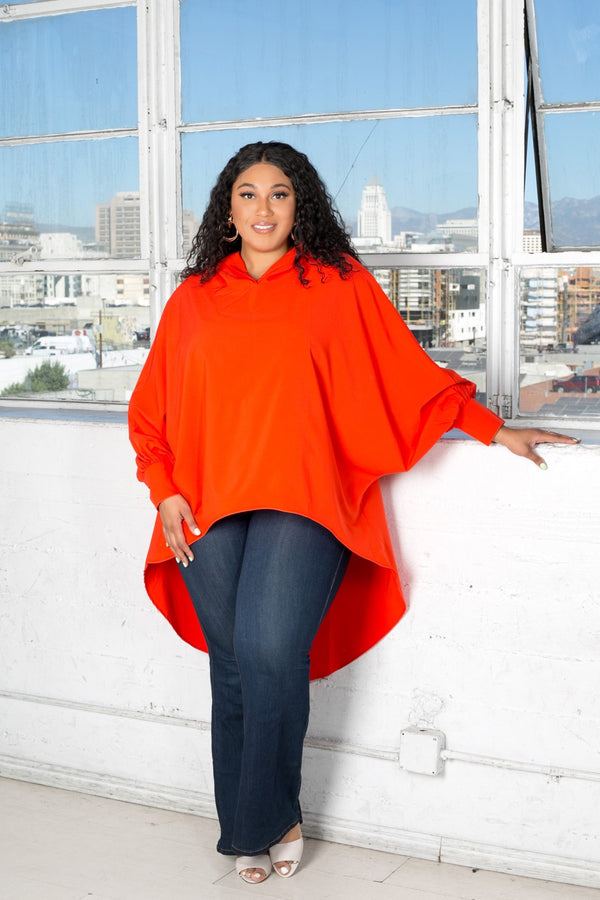 buxom curvy couture womens plus size oversized blouse with hood stretch woven in blood sunset orange