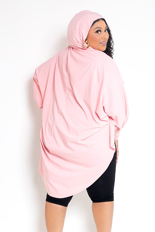 buxom curvy couture womens plus size oversized blouse with hood stretch woven in lt light pink