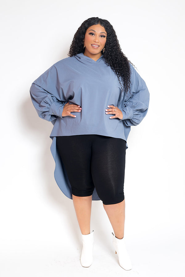 buxom curvy couture womens plus size oversized blouse with hood stretch woven in light blue denim