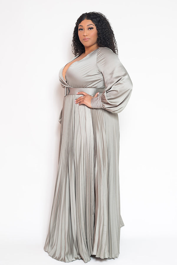 buxom curvy couture womens plus size pleated wrap dress with belt in lt sage satin