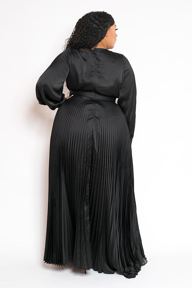 buxom curvy couture womens plus size pleated wrap dress with belt in black