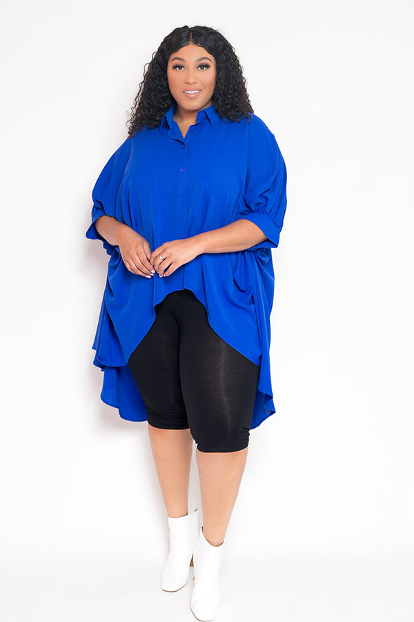 buxom curvy couture womens plus size button up wing sleeve top in royal blue