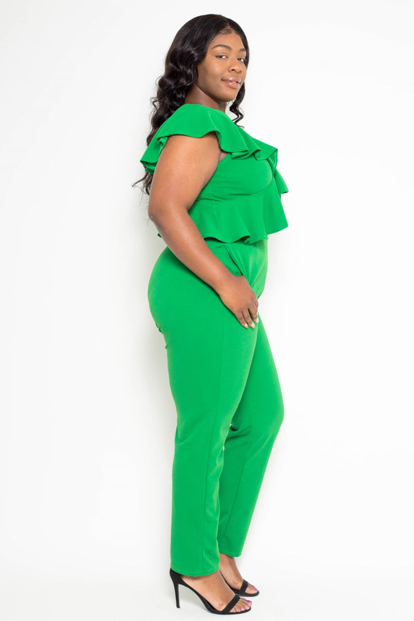 buxom curvy couture plus size sleeveless ruffle jumpsuit kelly green