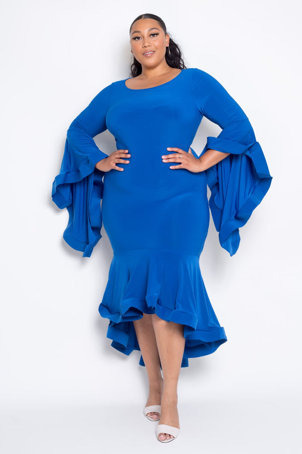 buxom curvy couture blue royal ity angel sleeve dress