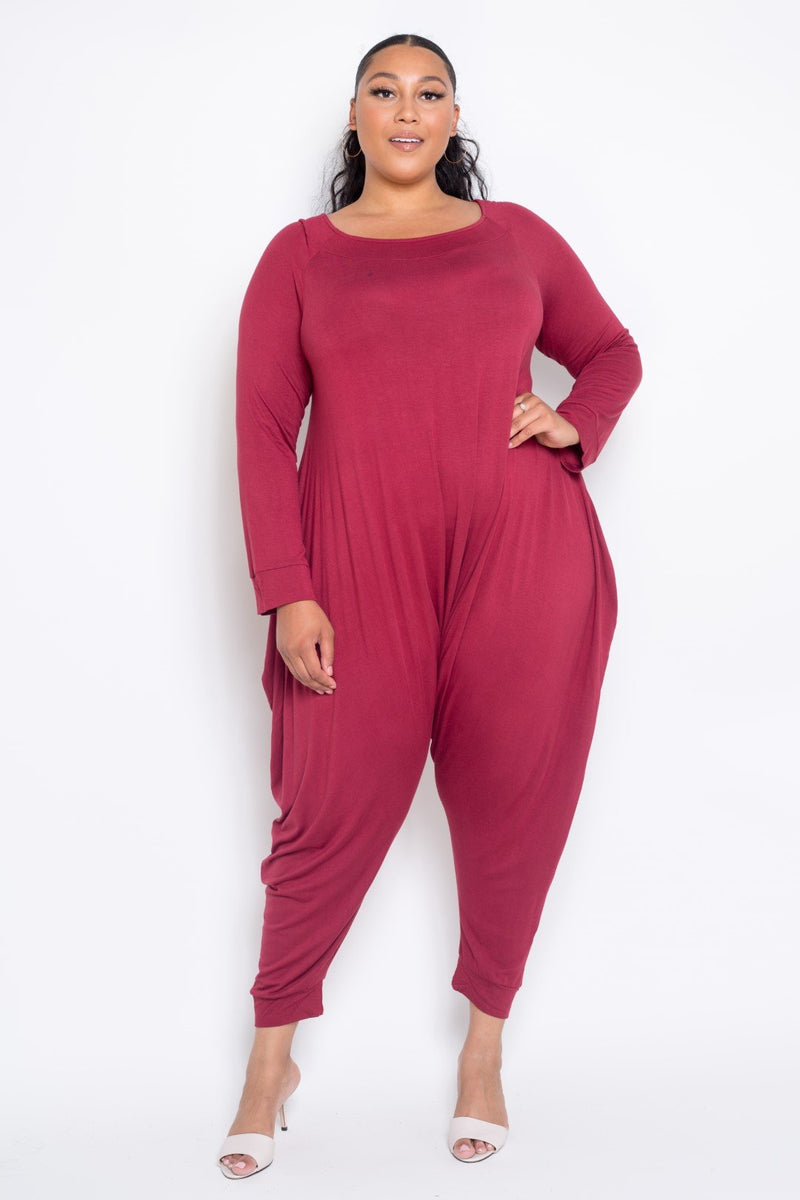 buxom curvy couture womens contemporary plus size rayon jumpsuit in burgundy red