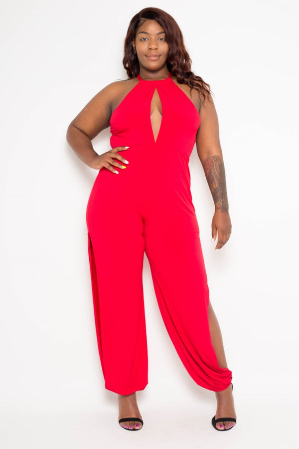 buxom curvy couture plus size halter jumpsuit with slits in red