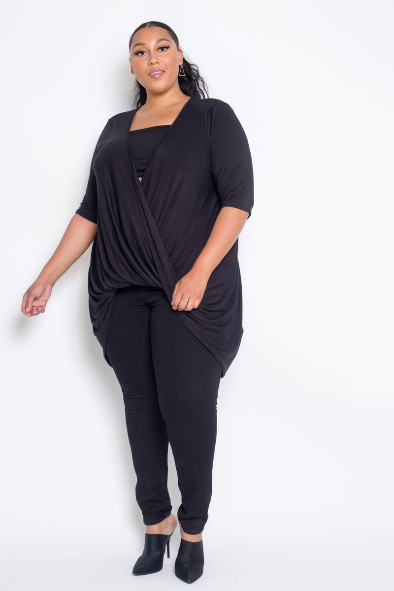 buxom curvy couture womens plus size contemporary fashion wrap top in black