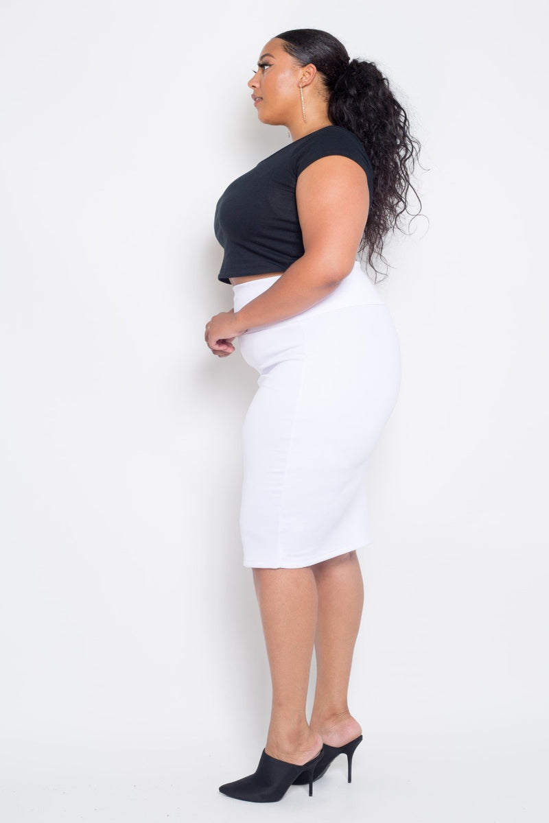 buxom couture curvy womens plus size pencil skirt techno scuba in white
