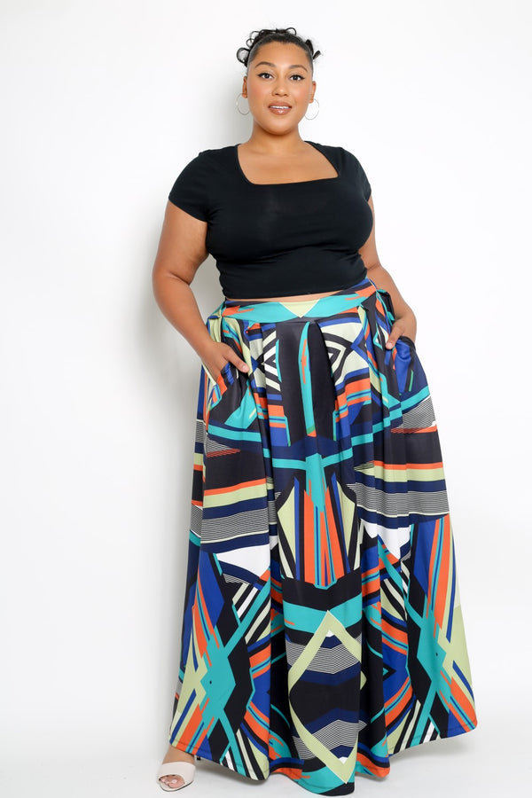 buxom curvy couture womens plus size tribal print maxi skirt scuba