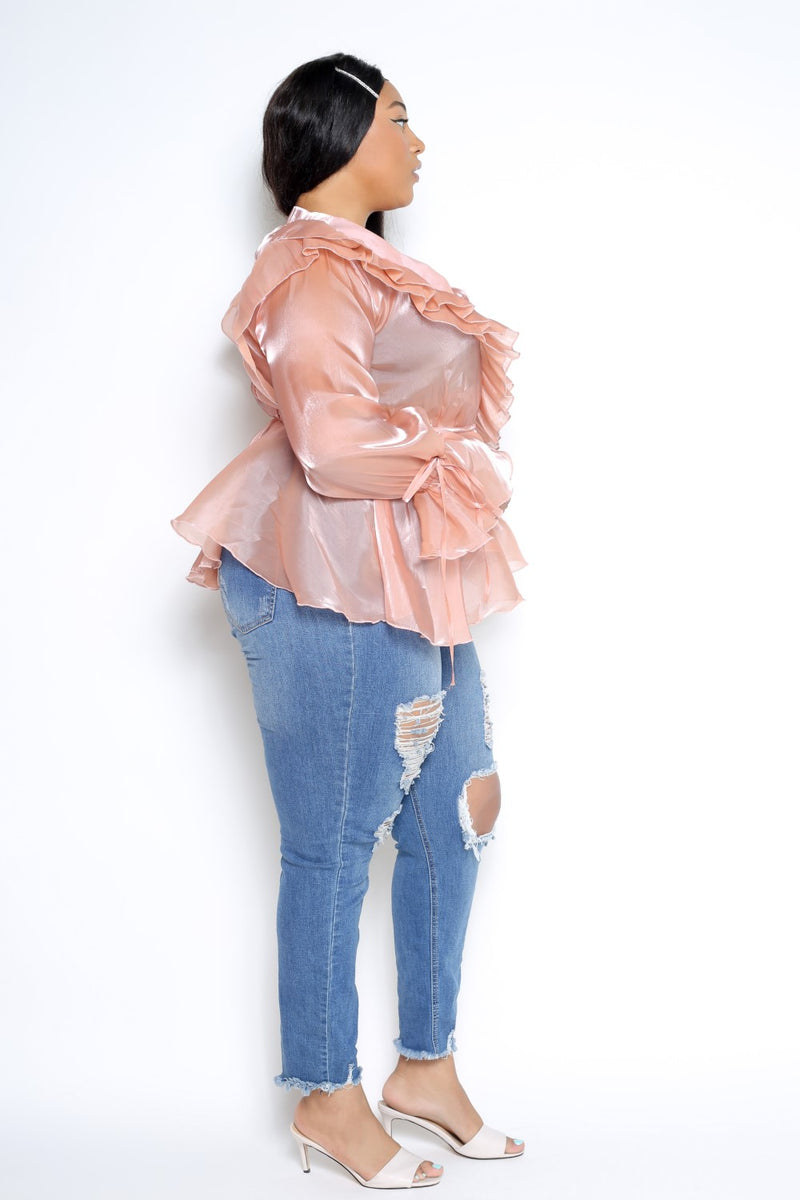 womens plus size ruffled surplice organza top in peach