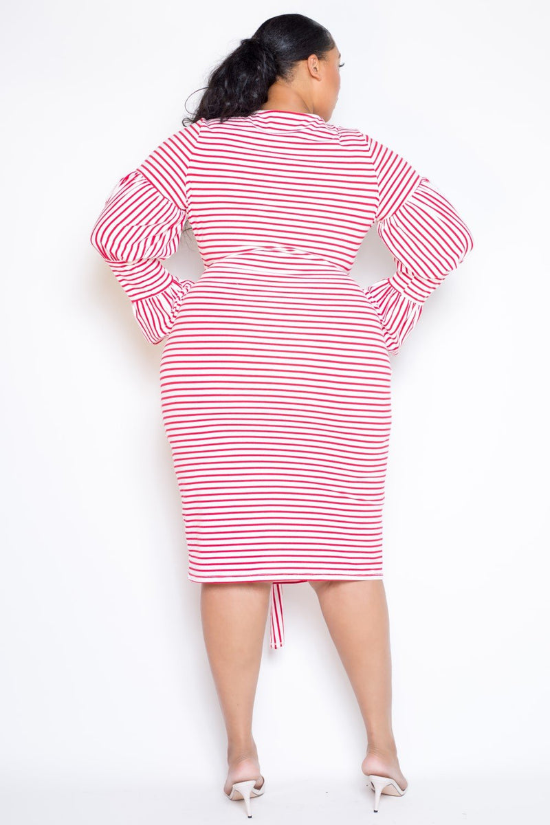 buxom curvy couture womens plus size striped dress with puffed sleeves and waist tie detail in red and white stripes