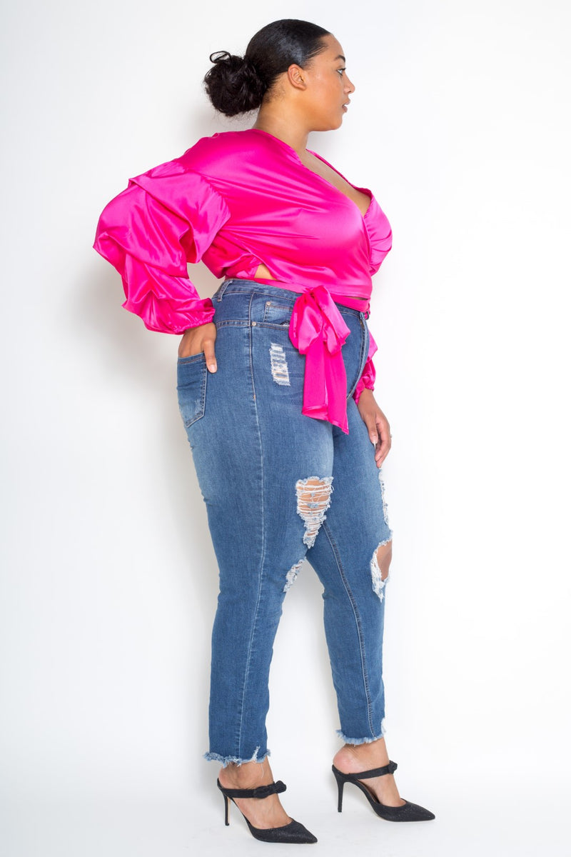 buxom curvy couture womens plus size wrap stretch satin top in fuchsia