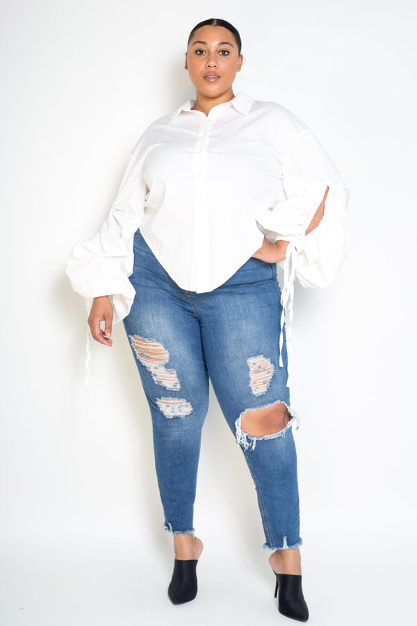 plus size contemporary buxom curvy couture long drawstring sleeve button up shirt with sexy back slit in white