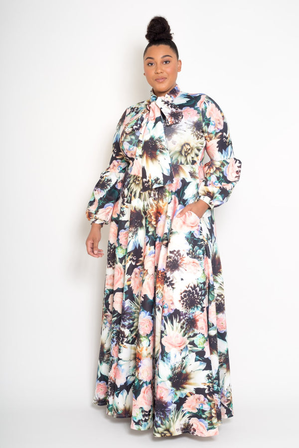 womens plus size floral printed maxi dress with bow