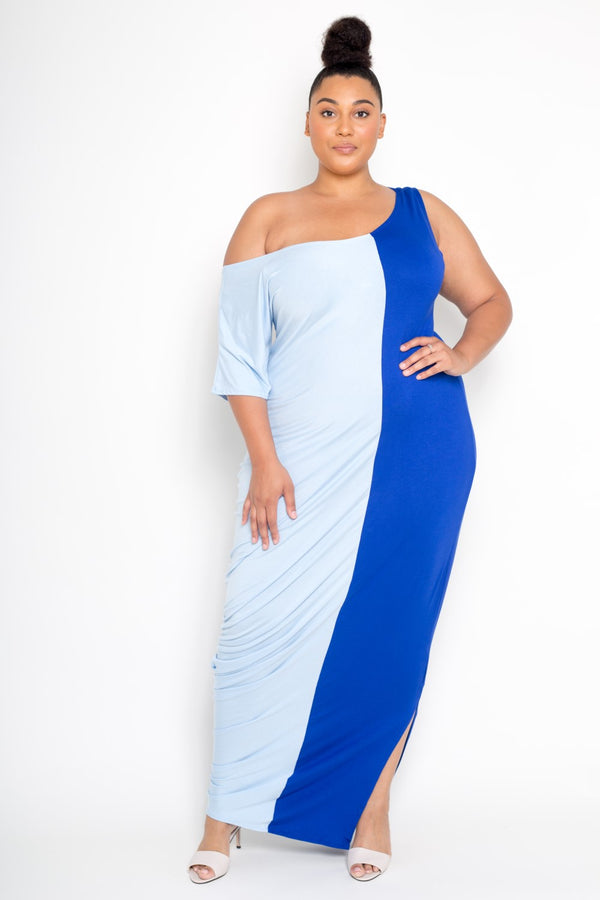 women's plus size color block maxi dress royal and ice blue