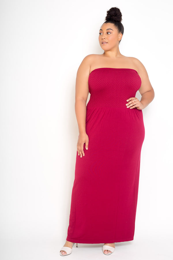 buxom couture curvy women plus size seamless modal premium quality maxi dress tube red burgundy
