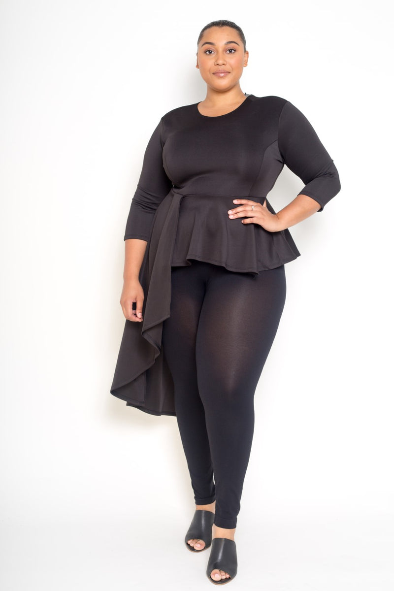 women's plus size peplum top in black