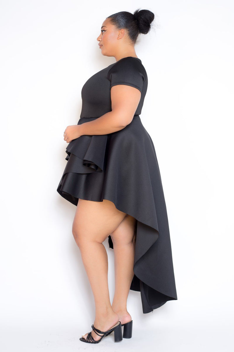 buxom curvy couture plus size hi lo cascading dress in black