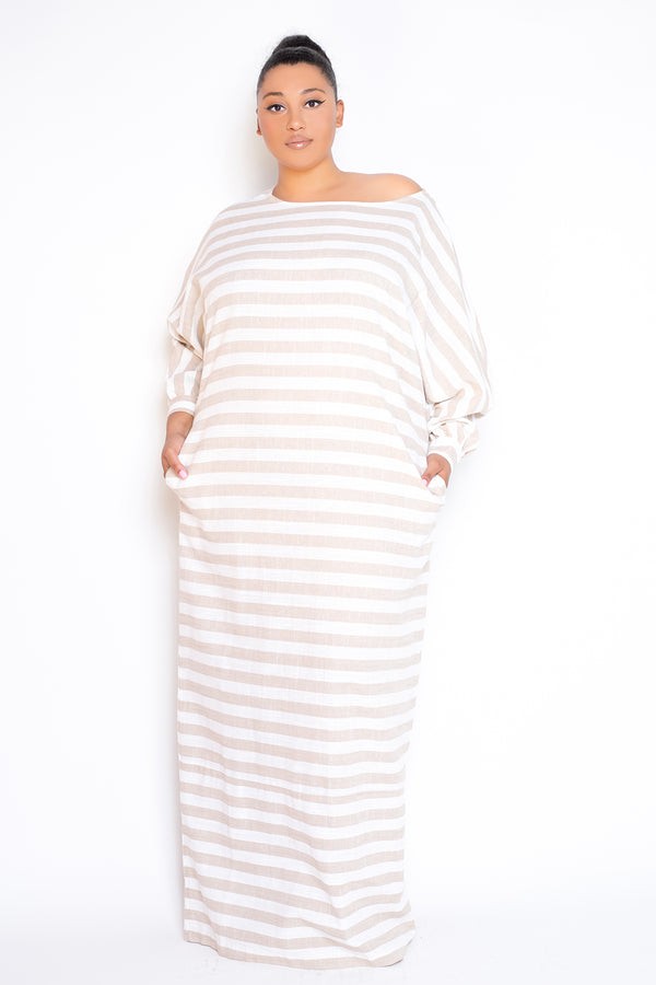 buxom couture curvy women plus size striped linen loose maxi dress taupe beige