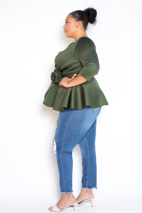 buxom curvy couture womens plus size peplum top with flower detail in air scuba neoprene fabric in olive green