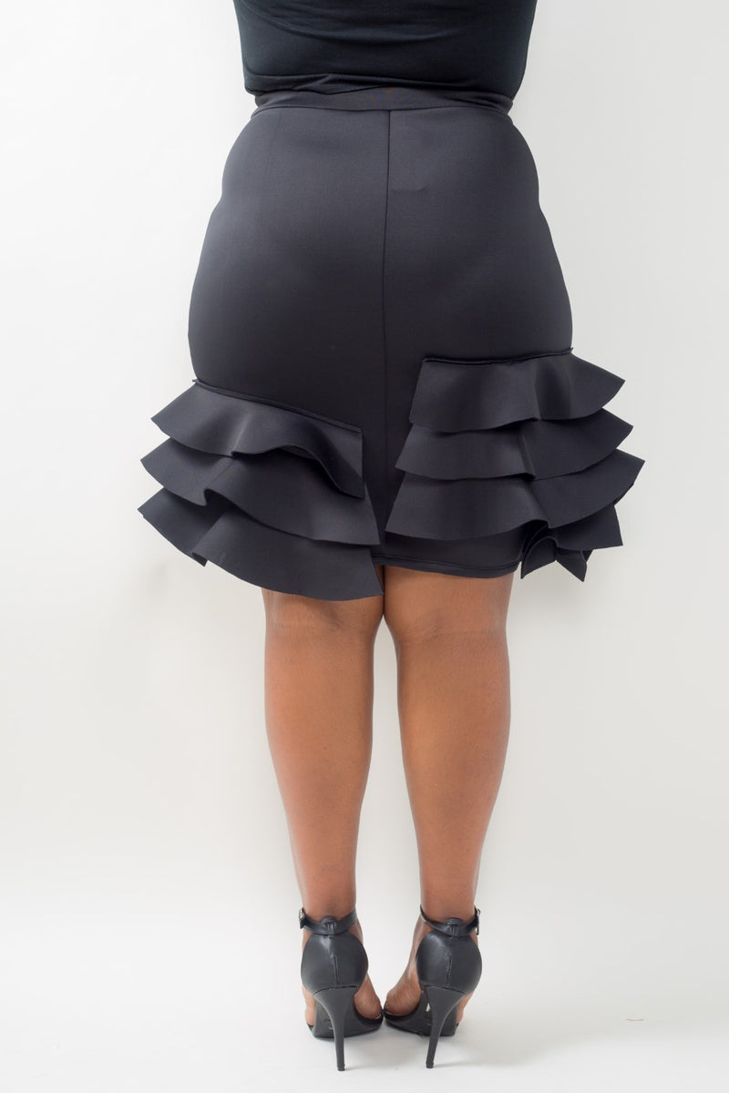 Pencil Skirt with Side Ruffles