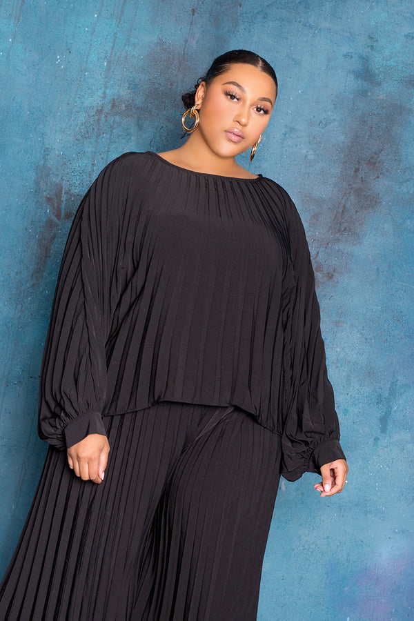 Pleated Top and Palazzo Pants Set