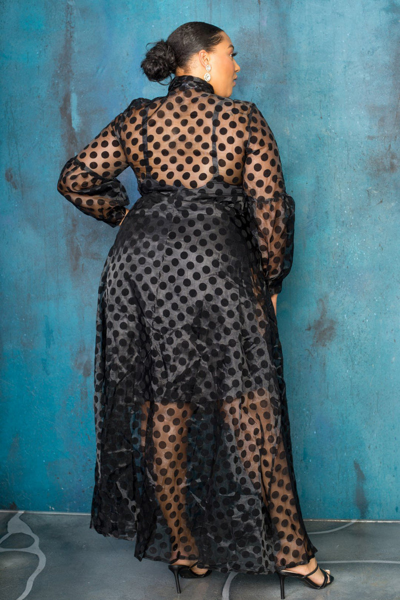 buxom curvy couture plus size womens polka dot flocking organza cocktail dress in black