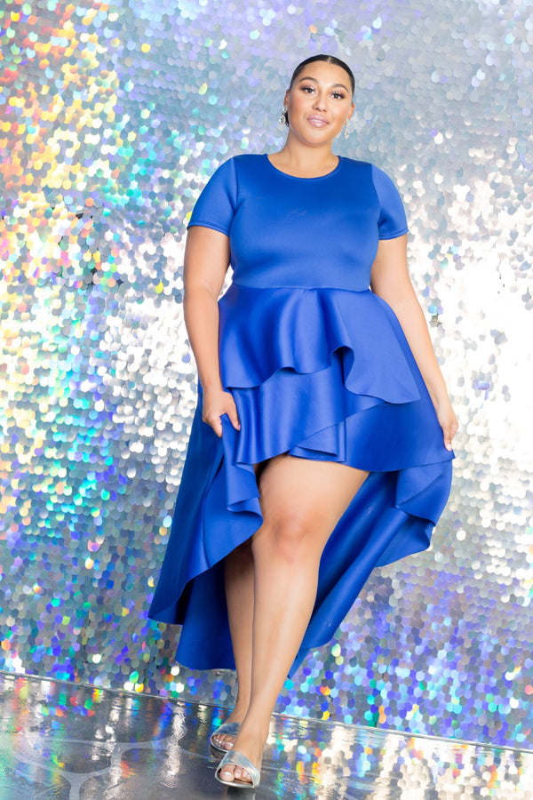 buxom curvy couture plus size hi lo cascading dress in blue