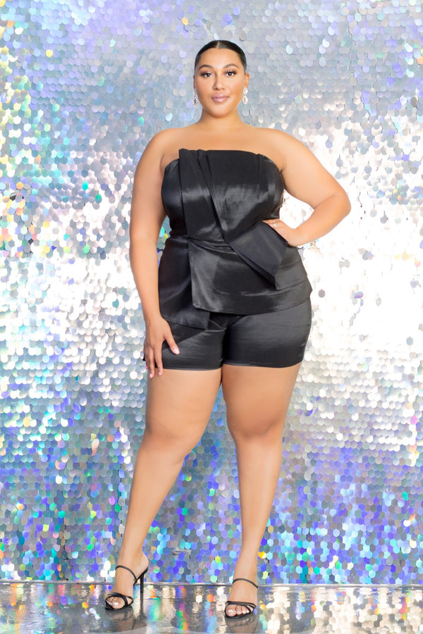 buxom curvy couture womens plus size taffeta holiday romper in black