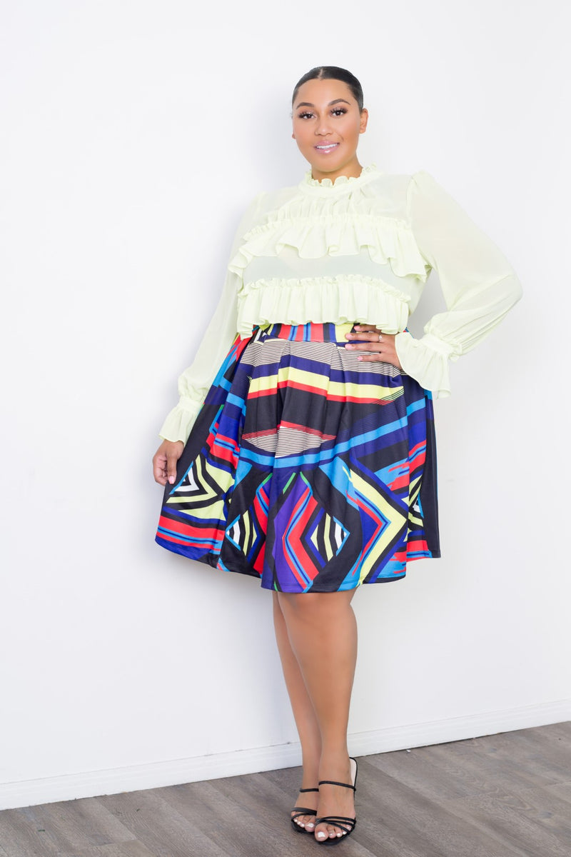 buxom curvy couture women plus size abstract print skater skirt multi tribal